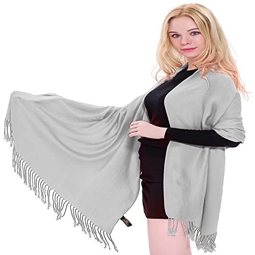 CJ Apparel Gris Plateado Diseño Sólido Color Chal Pashmina Abrigo de la Bufanda de la Estola NUEVO