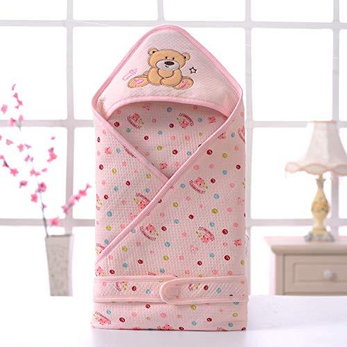 Baby-winterslaapzak, Baby-quilt, katoenen slaapzak voor kinderen-Pink_90 * 90, Infant Swaddle Wrap Warme wandelwagen Wrap