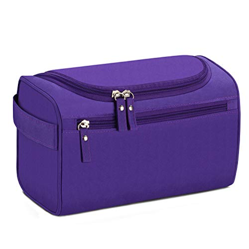 Buruis Toiletry Bag for Men and Women, Waterproof Wash Bag Dopp Kit with Hook, Portable Shaving Bag Toiletry Organizer for Travel, Shower, Trip, Vacation, Gym (Purple)