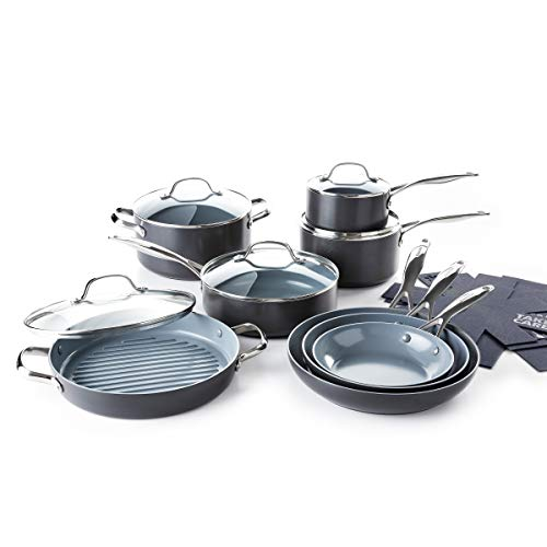 GreenPan Valencia Pro Hard Anodized Induction Safe Healthy Ceramic Nonstick Gray Cookware Pots and Pans Set, 16 Piece