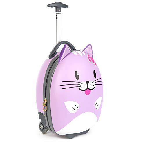 Boppi Tiny Trekker Kids Luggage Travel Suitcase Carry On Cabin Bag Holiday Pull Along Trolley Lighweight Wheeled Holdall 17 Litre Hand Case - Purple Cat