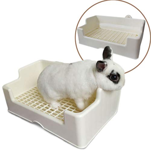 PAPIEEED Pequeña caja de arena para mascotas, bandeja para orinal de conejo, entrenador de cobayas, baño para animales pequeños