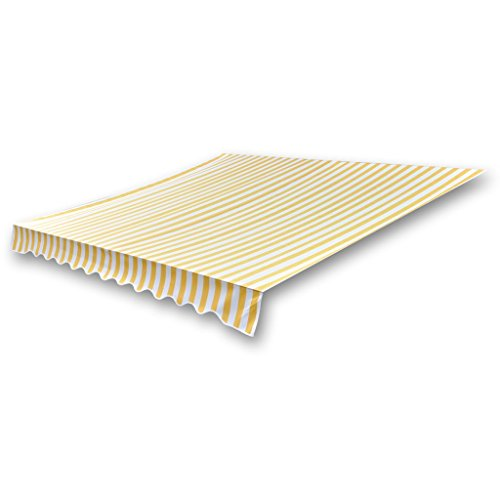 Anself Garden Awning Top Replacement Sunshade Canvas Yellow & White 4x3m (Frame Not Included)
