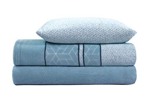 ADP HOME - Juego de sábanas coralina 240 GSM Estampado Lirio (Azul, Cama de 150 CM)