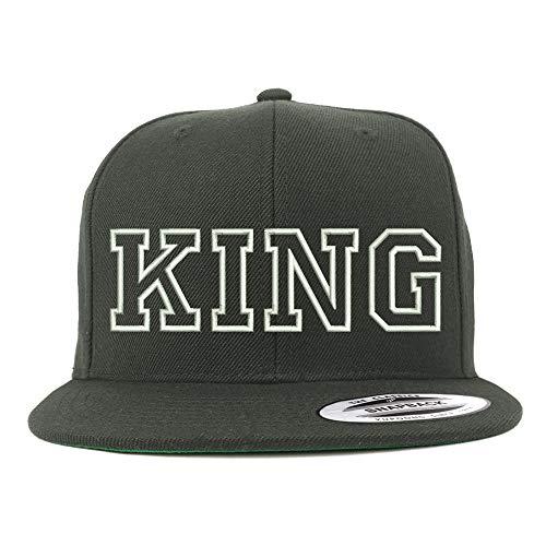 Trendy Apparel Shop King Outline Embroidered Snapback Flatbill Baseball Cap - Charcoal