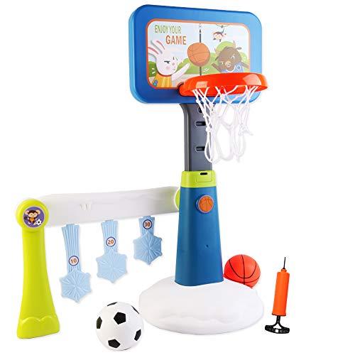 deAO Juego de Baloncesto y de Puntería 2en1 Conjunto Infantil Set de Basquetbol Altura Ajustable Actividades Deportivas para Interior y Exterior