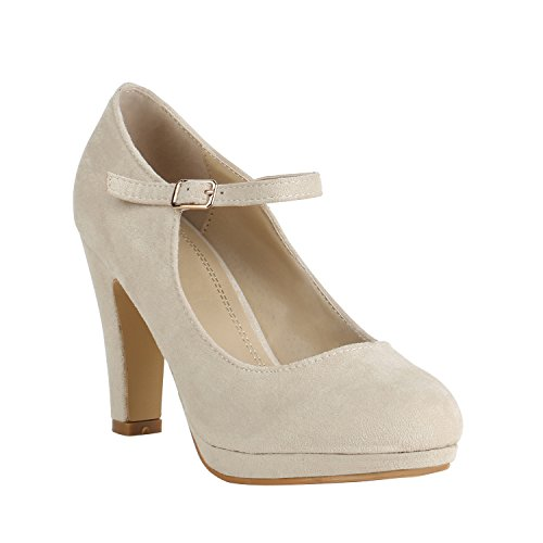 Damen Schuhe Plateau Pumps Lack Spangenpumps High Heels Blockabsatz 157227 Nude Brito 37 Flandell