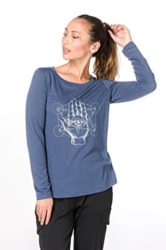 super. Natural W Graphic 140 Femme en Laine mérinos Manches Longues L Blau/Seeing Hand Print