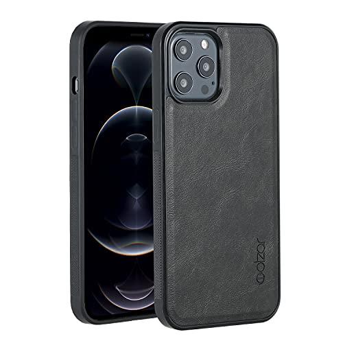 Molzar GripBig Series Funda para iPhone 12 Pro MAX con Piel Sintética, Placa de Metal Incorporada para Montaje Magnético, Funciona con Carga Inalámbrica, Compatible con iPhone 12 Pro MAX, Negro