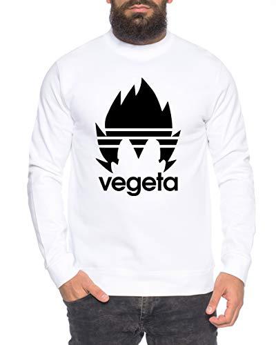 Adi Vegeta Herren Sweatshirt Goku Dragon Master Son Ball Vegeta Turtle Roshi Db, Größe:L, Farbe:Weiß