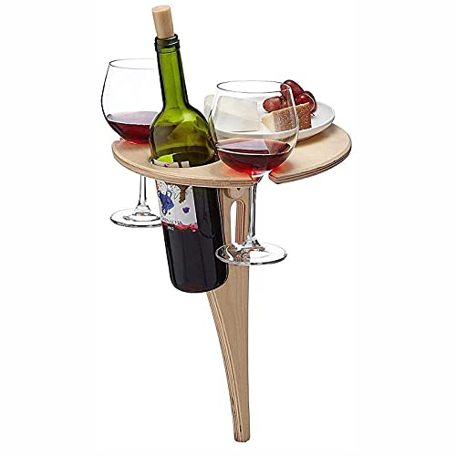 MIGDT Outdoor Portable Wine Table, Folding Outdoor Picnic Table Beach Snack Table Cheeseboard Gift For Wine Lovers