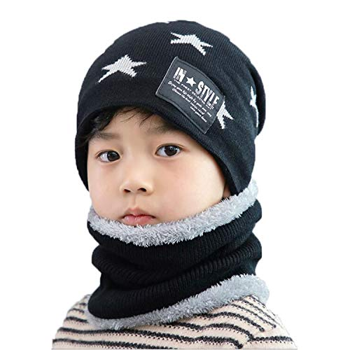 Conjunto de gorro y bufanda para niños y niñas, con forro polar para esquí de 5 a 14 años