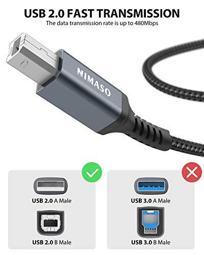 NIMASO Cable Impresora [3M]cable usb impresora hp Tipo USB 2.0 Tipo A a Tipo B Compatible para Impresora HP, Epson,Canon… 2