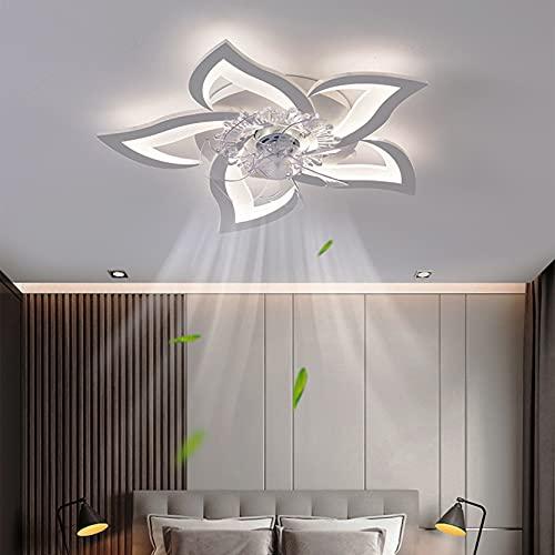 Leise Deckenventilator mit Beleuchtung, Modern LED Dimmbar Deckenbeleuchtung mit Ventilator, Kreativer 5 Lichter Design Deckenventilator für Schlafzimmer Küche Esszimmer Lampen (69cm, Weiß)