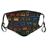 Game Video Gaming Pattern Reusable Cloth Face Mask Fabric Shield Droplet-Proof Mouth Protective with 2 Filter Black