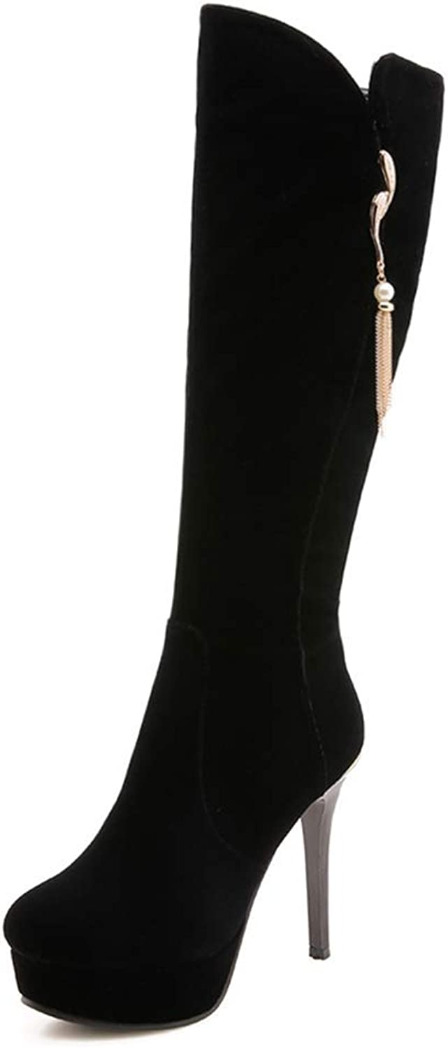 Gedigits Women's Sexy Thin High Heels Solid Elegant Mid Calf Boots shoes Woman Boots Female Size 32-42 Black 4 M US