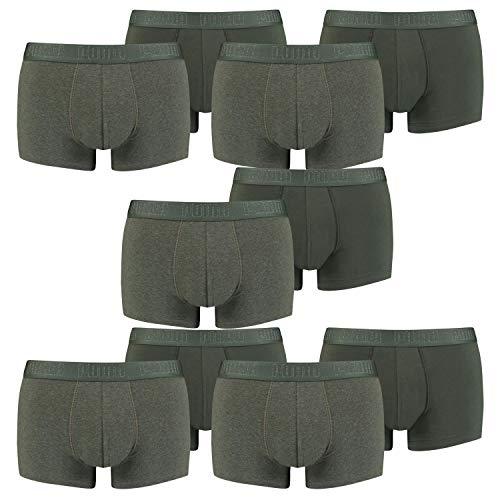 PUMA Herren Basic Trunk Boxershort 10er Pack Green Melange (009) Größe:XL