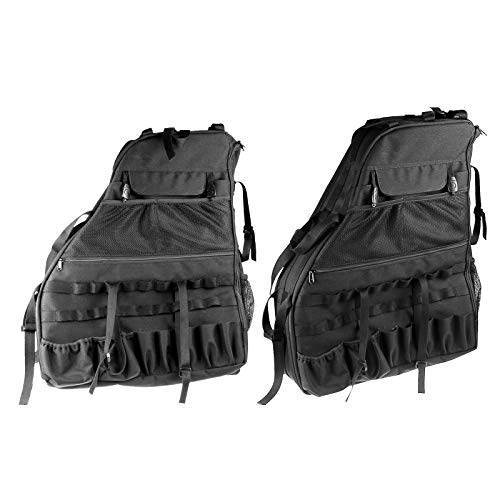 SUNPIE Roll Bar Storage Bag Cage for 2007~2018 J eep Wrangler JKU 4 Doors with Multi-Pockets & Organizers & Cargo Bag Saddlebag Tool Kits Holder, Best Gifts For Jeep Lovers