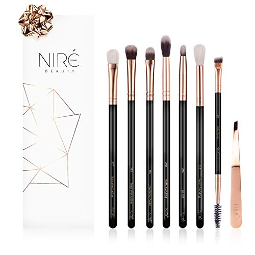 Niré Beauty Set Esencial de Pinceles: Kit de Maquillaje Profesional para Ojos con Pinzas, Pincel Biselado, De Precisión Y Difuminador