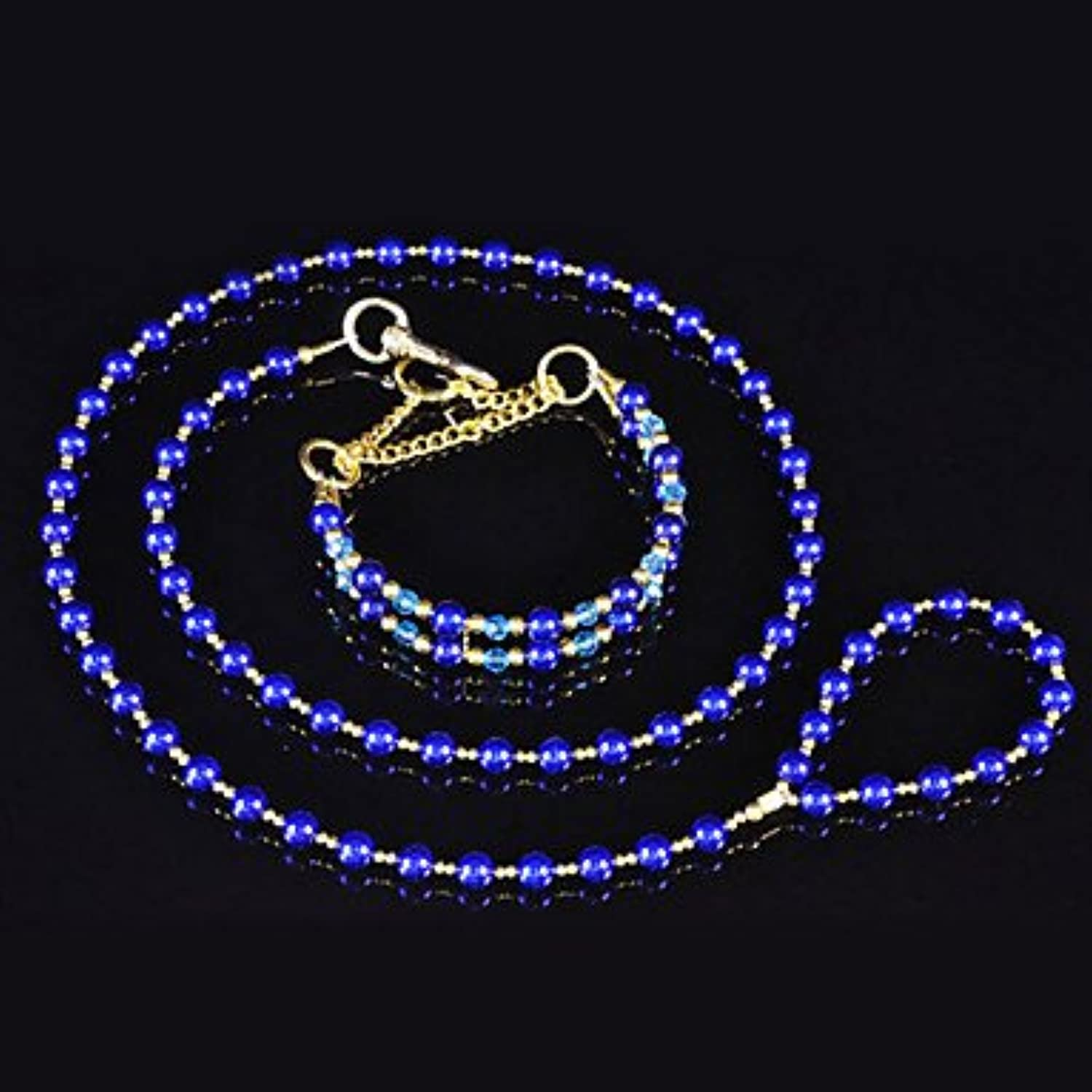Quick shopping Night Bright Dark Blue Full Beads Necklace stylish Leash for Animal Dogs
