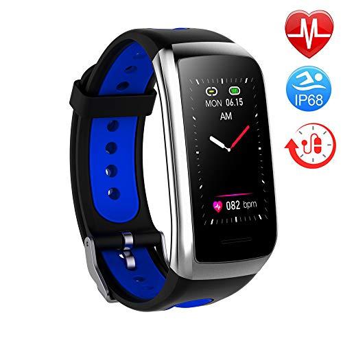 TwobeFit Fitness Armband mit Pulsmesser Fitness Tracker Smartwatch Blutdruckmesser Wasserdicht IP68 Aktivitätstracker Schrittzähler Sport Uhr Stoppuhr Damen Herren Anruf für iPhone Android (B-Blue)