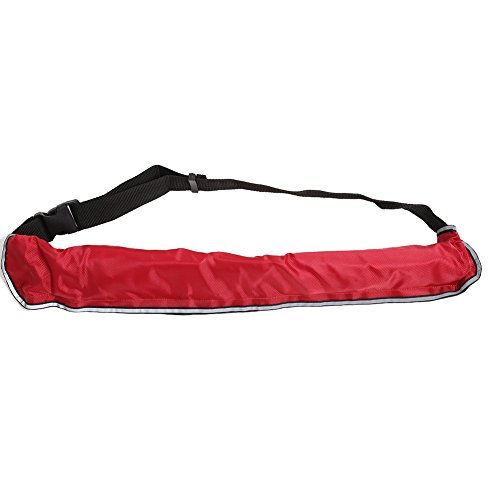 Ejoyous Inflatable Belt, Manual Inflatable Life Jacket Waist Belt Flotation Device with Reflective Tapes, Whistle and Adjustable Strap for Swimming Fishing Sailing Kayaking Sufring, Red