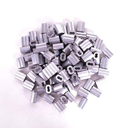 """HIGOOD Aluminum Crimping Loop Sleeve for 1/8"""" Diameter Wire Rope and Cable (1/8"""" 100PCS)"""