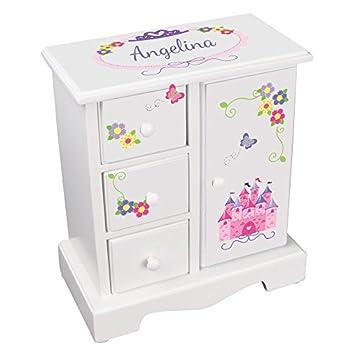 MyBambino Personalized Girls Princess Jewelry Armoire Chest Box Pink Princess Castle Design