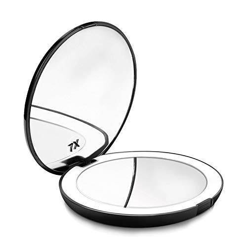 Espejo de Bolsillo Maquillaje Compacto con luz LED Iluminado Aumento d