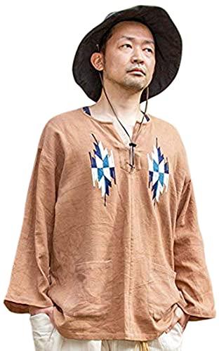 【チャイハネ】刺繍MEN'Sトップス IDS-1111 FREE ブラウン