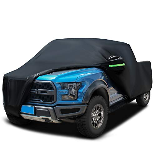 Sailnovo Truck Cover,Black Satin Shield Truck Short Wheel Base Extended Cab Car Cover 6 Layers Heavy Duty Waterproof Windproof Dustproof Snowproof Scratch Resistant for Truck