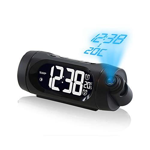 ZHANG 180° flip-projectiewekker, projectiewekker, radiowekker met projectie, dual-alarms digitale wekker, radioklok met USB-aansluiting, sluimer-/snoozefunctie