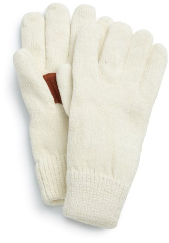 Isotoner Women's Solid Rayon Chenille Glove With Suede Palm Patch, Ivory, One Size