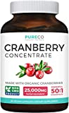 Organic Cranberry Pills - 50:1 Concentrate Equals 25,000mg of Fresh Cranberries (Vegan) for Kidney Cleanse & Urinary Tract Health - UTI Vitamins Support - Fruit Extract Supplement - 60 Capsules