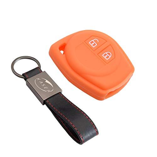 Funda Silicona para Llave Suzuki – Carcasa Llaveros para Coche Suzuki Alto Baleno Grand Vitara Ignis Jimny Karimun Wagon Cover Case Protección Mando Distancia Auto (Naranja)
