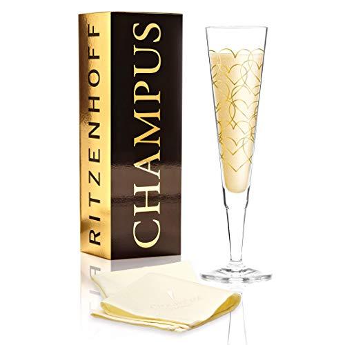 RITZENHOFF Champus Champagnerglas von Rurik Mahlberg, aus Kristallglas, 200 ml, mit edlen Goldanteilen, inkl. Stoffserviette