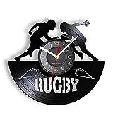 MASERTT Jeu de Rugby Horloge Murale Contemporaine Rugby League Compétition Longplay Record Montre Murale Rétro Vinyle Disque Artisanat pour Joueur & Fans-sans LED