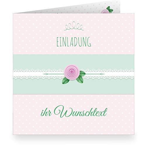 Set 24 x Schöne rosa Einladungskarte mit Wunschtext und Innendruck zum Ausfüllen (quadratisch, 15,5x15,5cm inkl Umschlag) shabby chic- große XL Karte zur Taufe, Erstkommunion, Einschulung, Firmung