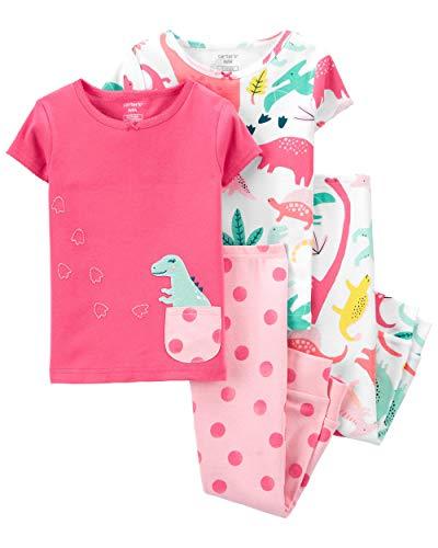 Carter's Girls' 4-Piece Snug Fit Cotton Pajamas (5T, Pink Dinosaur)