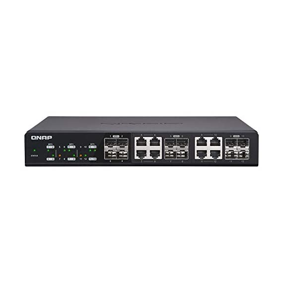 QNAP QSW-1208-8C-US 12-Port Unmanaged 10GbE Switch Twelve SFP+ with Shared Eight 10GBASE-T Ports 1 Twelve 10GbE SFP+ ports with Shared eight 10GBase-T ports unmanaged switch, NBASE-T support for 5-speed auto negotiation (10G/5G/2. 5G/1G/100M) With NBASE-T support, existing cables can be used. Backwards compatibility is provided for Legacy devices With a combination of SFP+ (fiber) and RJ45 (copper) ports, most devices can take advantage of 10GbE connectivity provided by the QSW-1208-8C
