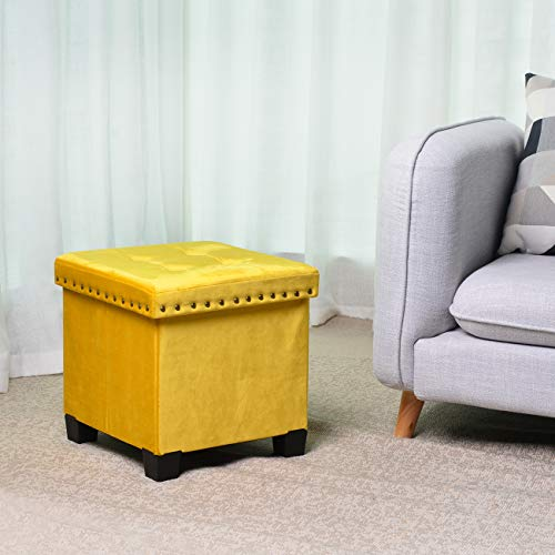 KINWELL Foldable Storage Ottoman, Velvet Tufted, Cubes Footrest, Rest Seat (Yellow)