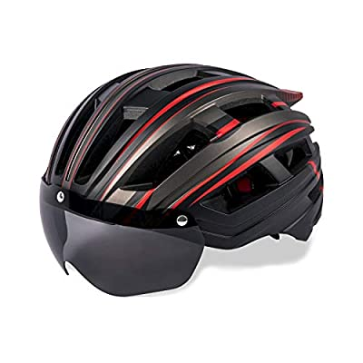 Bike Helmet for Adult Men Women, Bicycle Cycling Helmet with Magnetic Goggles & USB Charging Light & Reflective Strap for Adults Road & Mountain Cycle Helmets - BlackTitaniumRed