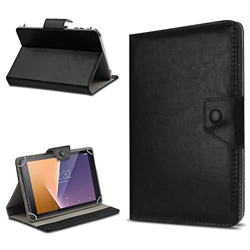 Hochwertige Tablet Schutzhülle für Vodafone Tab Prime 6/7 Tasche Hülle mit Standfunktion Kunstleder Cover Hülle Universal, Farben:Schwarz