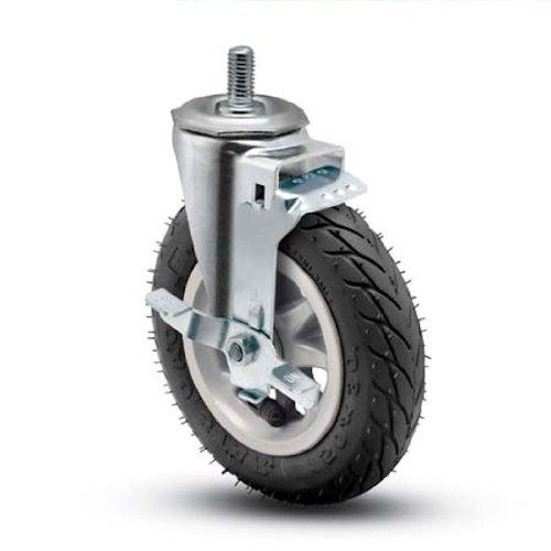 "Shepherd Institutional Series 6"" Diameter Ball Bearing Pneumatic Wheel Swivel Caster with Tread Brake, 1/2"" Diameter x 1-1/2"" Length UNC13 Threaded Stem, 150 lbs Capacity, Black"
