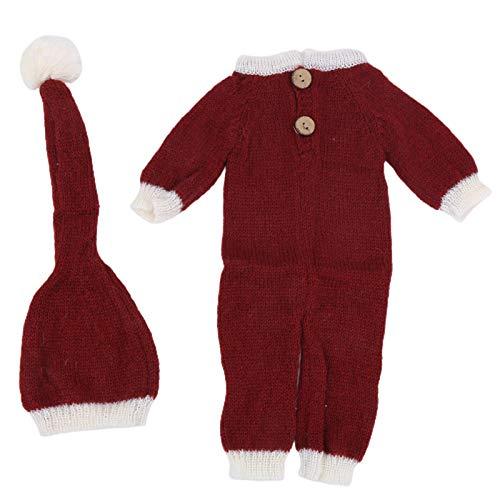 Traje de fotografía de Navidad para bebé recién nacido, hecho de material de mohair de alta calidad, conjunto de abrigo de sombrero, ropa de disfraz de Santa para bebé unisex(Sombrero + Body)