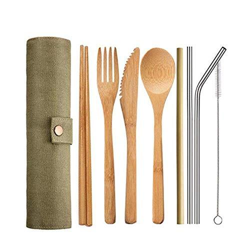 Cubertería de Bambú, Set cubiertos para camping Reutilizable Juego de Cubiertos de Viaje con Caja para acampar con bolsa, aptos para el uso diario, viajes, acampar (A)
