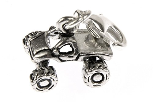 Miniblings Quad Motocross Offroad Charm Geländefahrzeug Auto Silber - Handmade Modeschmuck I Kettenanhänger versilbert - Bettelanhänger Bettelarmband - Anhänger für Armband