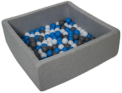 Velinda Piscine a balles pour Enfant, Dimensions: 90x90 cm, Aire de Jeu + 150 balles (Couleurs des balles: Blanc, Bleu, Gris)