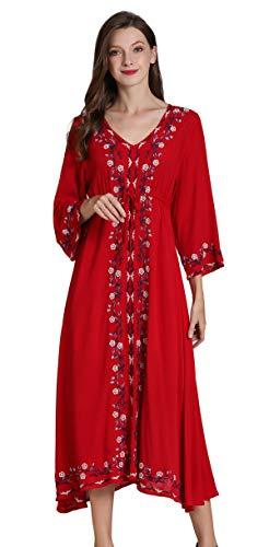 Shineflow Damen-Tunika, Bluse, Hemdkleid, für den Alltag geeignet, mit 3/4-Ärmeln, florales Muster, bestickt, mexikanischer Bauern-Stil Gr. 36, burgunderfarben