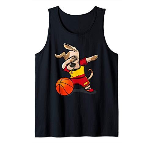 Dabbing Dog Perro Baloncesto de España - Bandera de España Camiseta sin Mangas